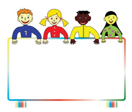 Fondo con coloridos escolares de todo el mundo con una valla publicitaria para su texto