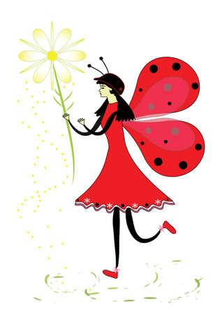 Fairy ladybug with a flower Illustration