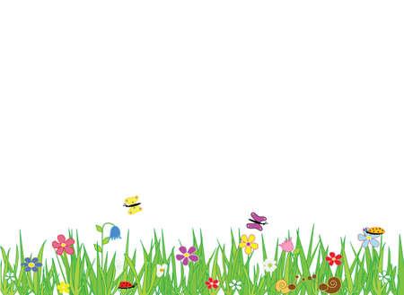 Granica łąka z kwiatami i owadami, miejsce na tekst. Formatuj wektor i jpg.