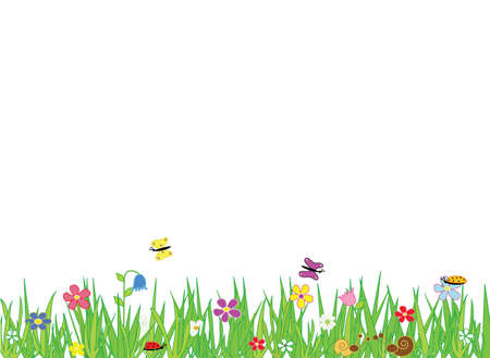 Meadow border with flowers and insects, place for text. Format vector and jpg.