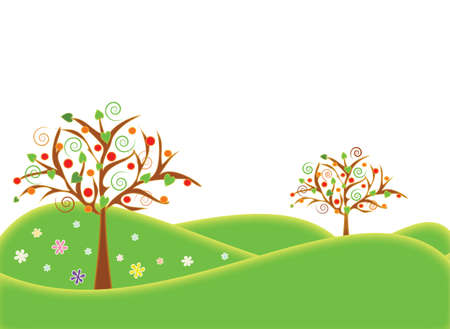 Background illustrations summer season with fruit trees in the landscape. Format vector and jpg. Иллюстрация