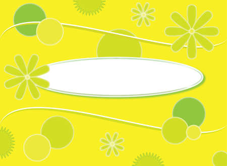 Floral yellow, green background wits oval for your text. Format vector and eps.
