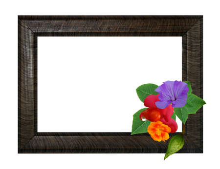Illustration of an empty frame with a bouquet.