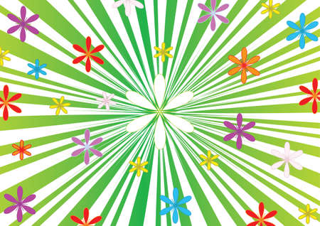 Green striped background with flowers, vector, jpg format.