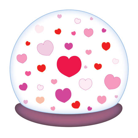 Glass paperweight with a romantic motif of hearts vector illustration Ilustração