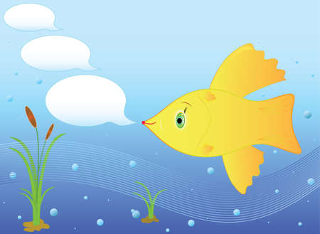 Goldfish for three wishes, messages vector illustration