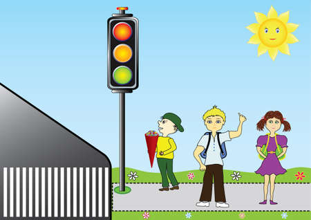 The new school year, children go to school and well waiting on the sidewalk at traffic light vector illustration