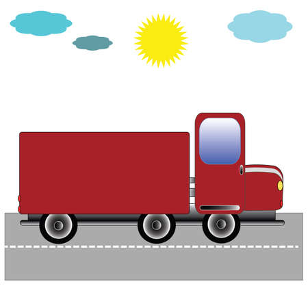 Truck on the road with the sky vector illustration