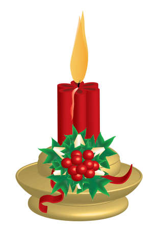 Christmas theme candlestick and holly, vector format and jpg.  イラスト・ベクター素材