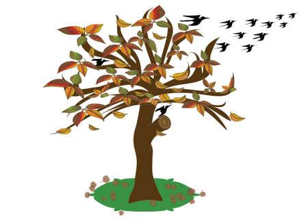 Arbre à feuilles caduques d'automne saisonnier avec le départ des oiseaux vers un climat plus chaud.Vector et jpg. Vecteurs