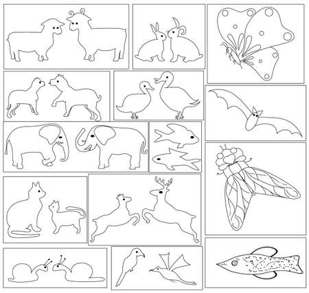 Coloring book with symbols of animals and insects. Vector.