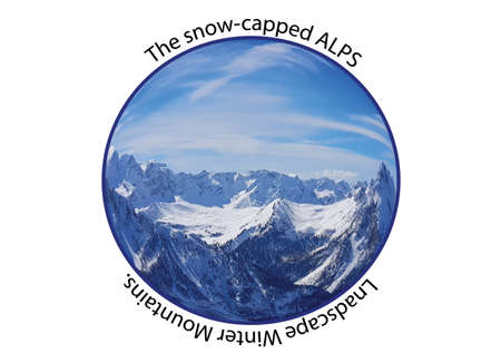 Winter snowy landscape of monumental mountains in the Swiss Alps in the shape of a banner of the circle with the description in the text.
