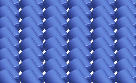 Blue patterned geometric background on a white background.