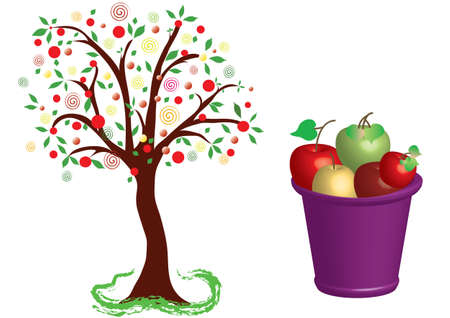 A fruiting apple tree with a bucket of apple crops. Vector Illustration Keywords: