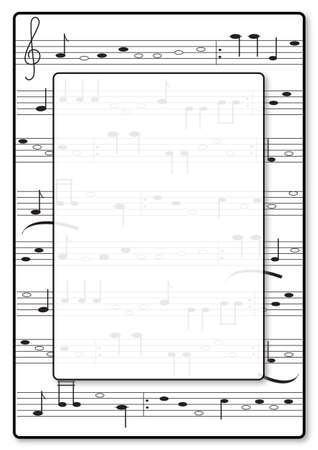 Music Invitation. Fictional note- writing with frame and space for your text. Vector Illustration Keywords: