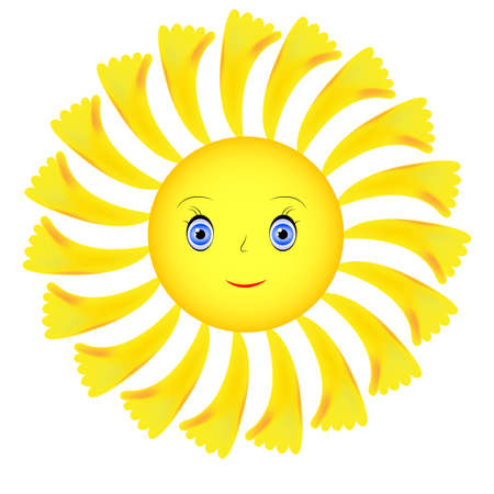 Yellow sunshine smiley face in the shape of a sunflower. Vector Vetores