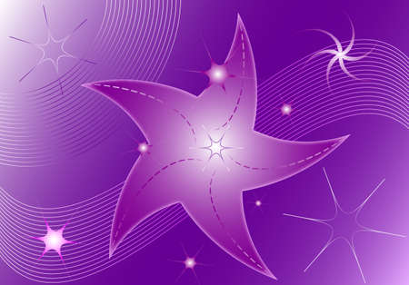 Abstract shiny violet illustration with stars, abstract background, vector format.