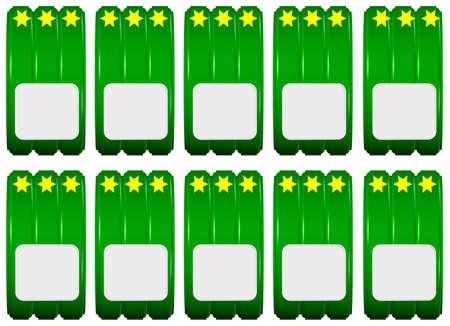 Set of decorative green labels