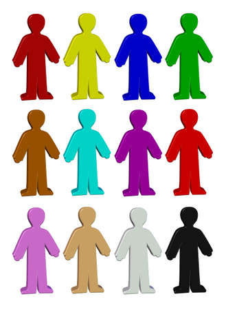 Set of same standing symbols, people figures. Standard-Bild - 129294311