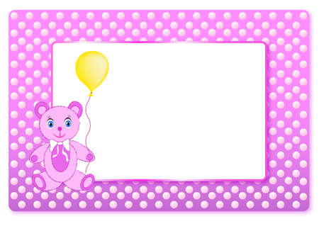 Pink postcard for girls born baby with frame for text, with bear and air balloon. Vector. Ilustrace