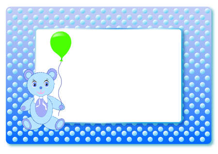 Blue postcard for boy born baby with frame for text, with bear and air balloon. Vector. Ilustrace