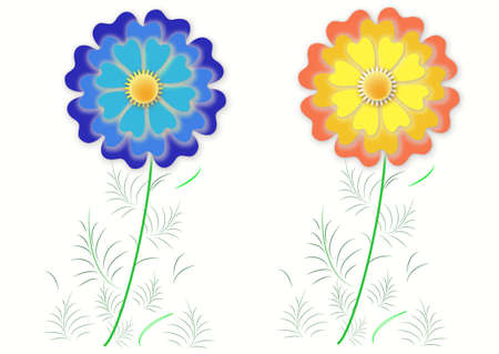 Two Colorful Flowers, Objects White Isolated. Vector.