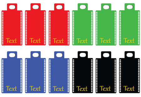 Collection of blank colored labels with a border of stars in template font, vector format Ilustração