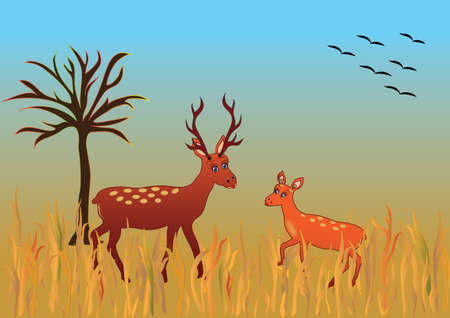 Autumn season themed deer in nature and flying birds in vector format and jpg. Colorful fall background with deer in the open. 일러스트