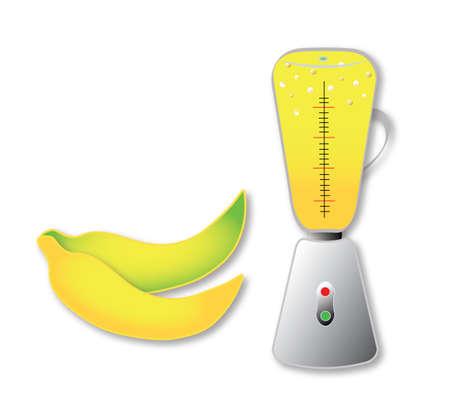 Set of banana juice, smoothie, and bananas. Vector. Illusztráció
