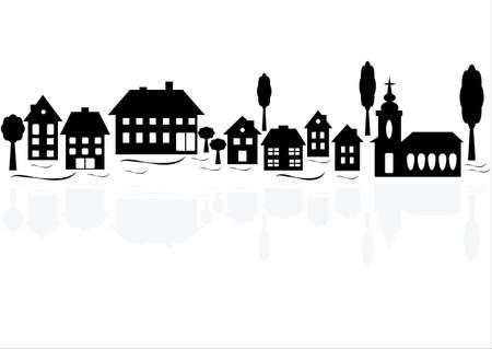 Black township silhouettes with gray reflection, row of houses and trees. Vector format.