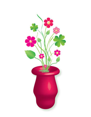 Purple flowers and cloverleaf in a vase, vector format.