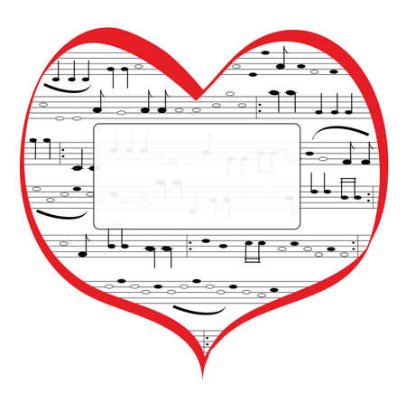 Red heart of love with music notation. Musical notes are black with a faintly transparent frame for a message in vector. Vecteurs