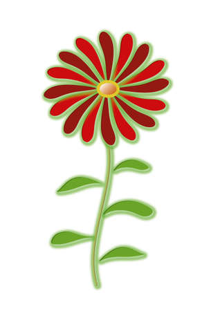 Big flower of a red gerbera with a yellow center. The flower object is white isolated in vector format and jpg.