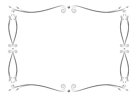 Funeral decorative ornate frame from abstract branches with petals. Ornamental retro illustration with place for your text in vector and jpg format.
