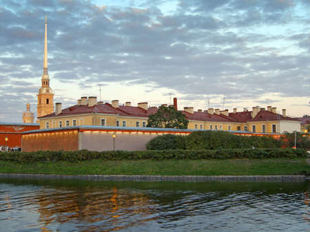 Russia. Saint-Petersburg.The Peter and Paul  fortress and channel at dusk. Stock Photo