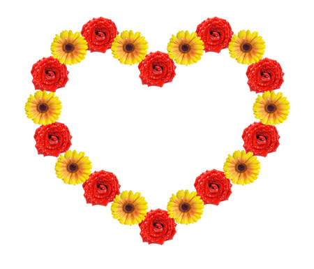 Red and yellow flowers in form of heart