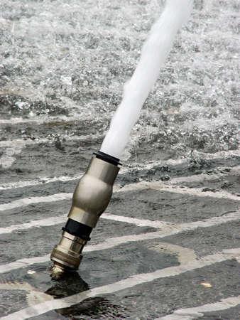 gush: Water gush of city fountain Stock Photo