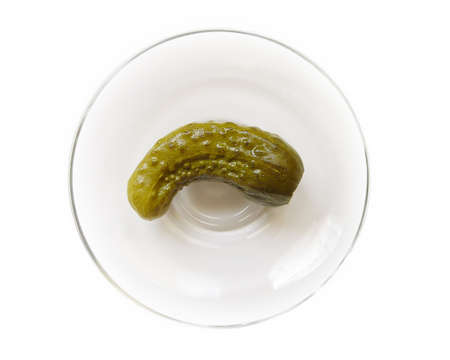 Spicy small cucumber on glassware. Object over white Stock Photo - 2920627