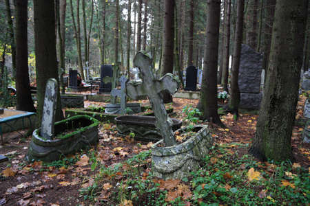 Old orthodox cemetery in the woods Stock Photo - 3778624