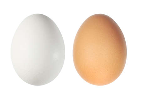 White and brown eggs over white Stock Photo