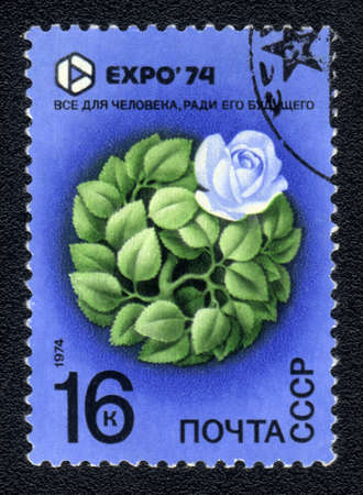 the world expo: USSR - CIRCA 1974: A Stamp printed in USSR shows image of Plant world, with the inscription