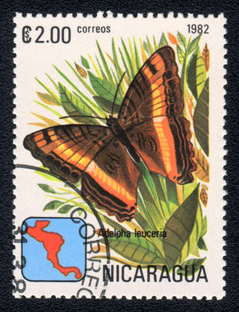 NICARAGUA - CIRCA 1982: A Stamp printed in NICARAGUA shows image of a  brush-footed butterflies (adelpha leuceria), circa 1982  photo