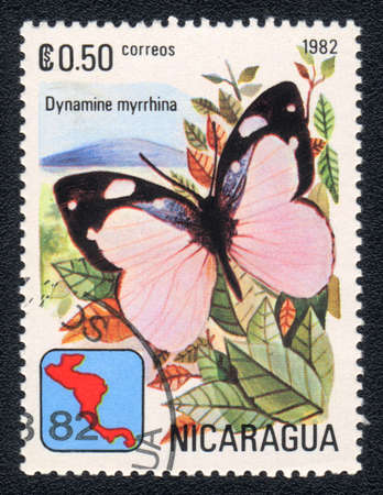 NICARAGUA - CIRCA 1982: A Stamp printed in NICARAGUA shows image of a  butterfly Dynamine myrrhina , circa 1982  photo