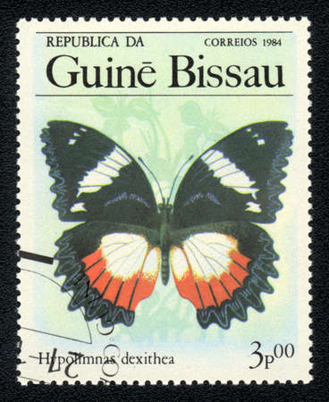 GUINEA-BISSAU - CIRCA 1984: A Stamp printed in GUINEA-BISSAU shows image of a   butterfly Madagascar diadem (hypolimnas dexithea) , circa 1984 Stock Photo - 10088650