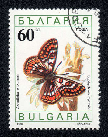BULGARIA - CIRCA 1990: A Stamp printed in BULGARIA and shows image of a  butterfly (euphydryas cyntia) on the red flower, circa 1990  photo