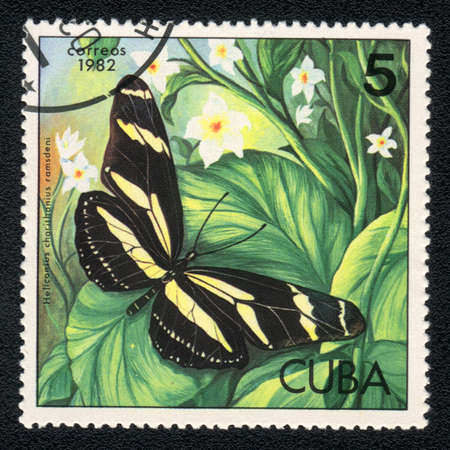 CUBA - CIRCA 1982: A Stamp printed in CUBA and shows image of a  butterfly Zebra Heliconian (Heliconius charithonia) on the plant background, circa 1982 Stock Photo - 10088695