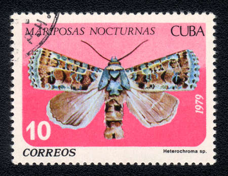 cuba butterfly: CUBA -  CIRCA 1979: A Stamp printed in CUBA shows image of a  mariposas nocturnas  butterfly, circa 1979 Stock Photo