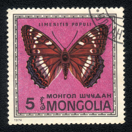 MONGOLIA -  CIRCA 1974: A Stamp printed in MONGOLIA shows image of a Limenitis populi butterfly, circa 1974 photo