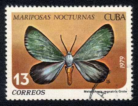 cuba butterfly: CUBA - CIRCA 1979: A Stamp printed in CUBA shows image of a Melanchroia regnatrix Grote butterfly (Mariposas nocturnas), circa 1979