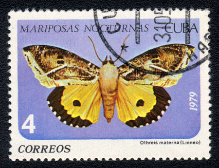 cuba butterfly: CUBA - CIRCA 1979: A Stamp printed in CUBA shows image of a Othreis materna Linneo butterfly (Mariposas nocturnas), circa 1979  Stock Photo